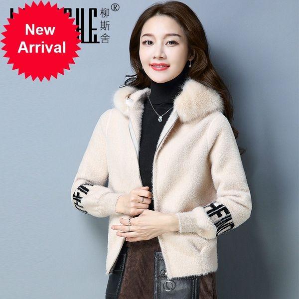 S-3XL Maxi Women Super Quality Ladies' 2018 Spring Autumn New Imitate Rex Rabbit's Hair Leather Fur Mink Hat Coat