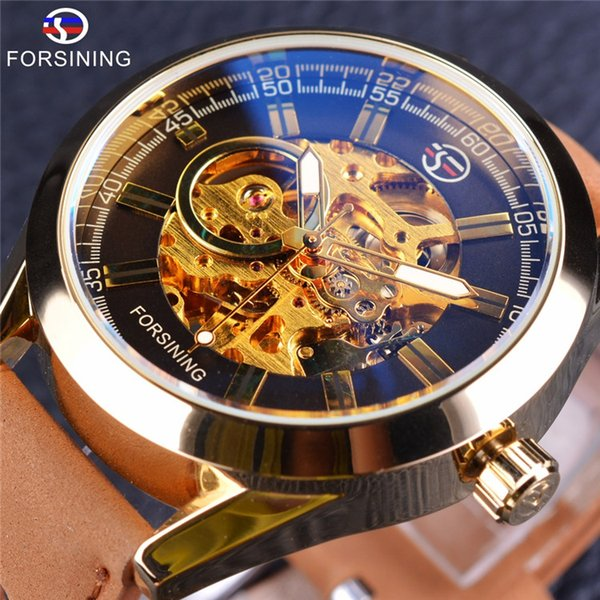 Forsining West Cowboy Military Brown Genuine Leather Strap Men Watches Top Brand Luxury Self Wind Automatic Skeleton Wrist Watch