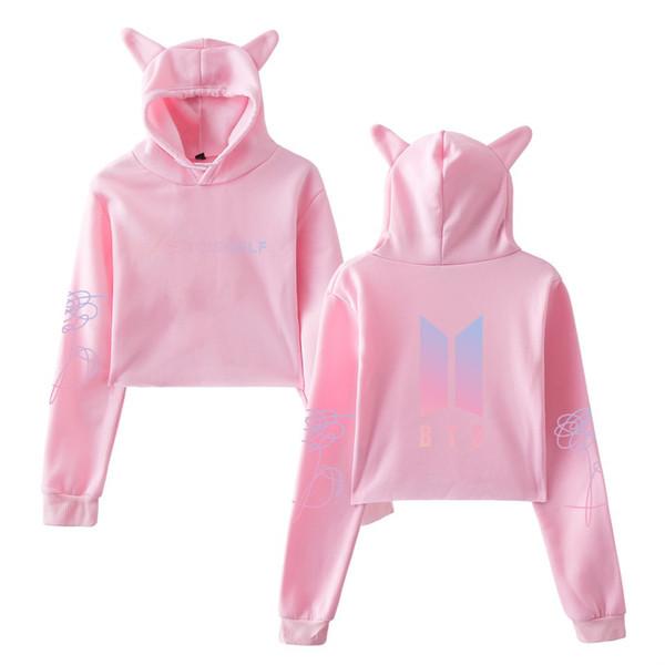 2018 Damenbekleidung Qiu Dong Outfit Katzenohren Zwerchfell niedlich Fleece Hut rosa weiß schwarz Sweatshirt Womens Hoodies