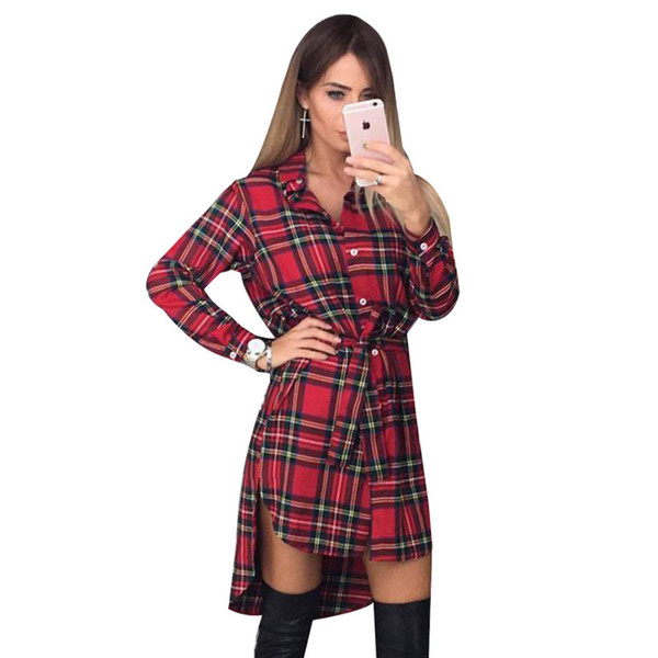 NEW Women Dress Sexy Long Sleeve Office Dress Irregular Plaid Shirt Dresses Women Clothes LJ5932E D1891301