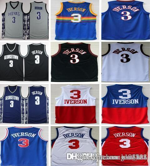 best loved 4ebdc a1b97 2018 Philadelphia Denver Mens 76ers #3 Allen Iverson Basketball Jersey  Jerseys Black White Rainbow Blue Red Color Free Fast Shipping From  Huang198811, ...
