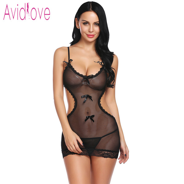 Avidlove 2018 Nueva Ropa Interior de Encaje Floral Sexy Hot Erotic Underwear Women Mini Babydoll Dress Chemise Nightwear Traje Sexual D18110801