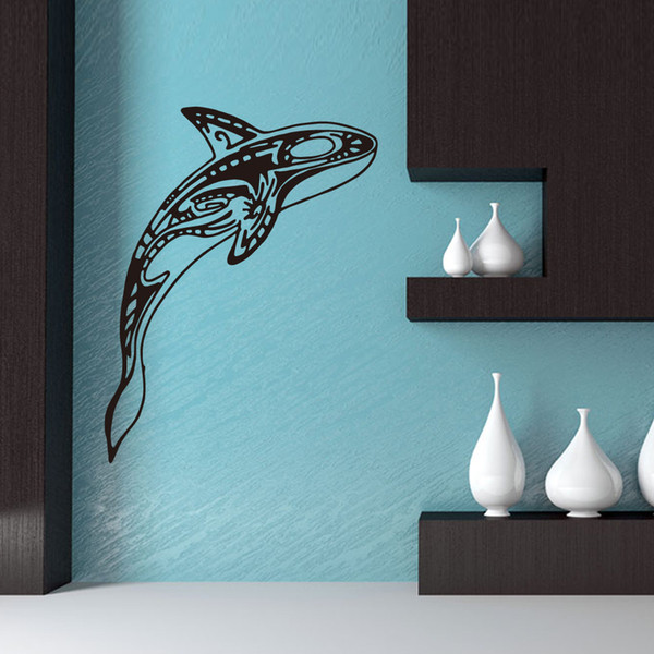Whale Jump The Sea Arts Murals Waterproof PVC Wall Stickers Self-adhesive Wallpapers Can Be Removable Sitting Room Nursery Kid's Room Decor