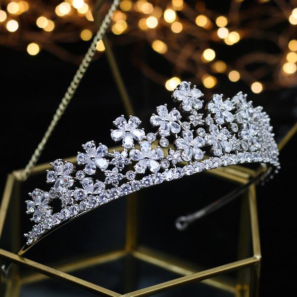 Lüks Düğün gelin zirkon taç Prenses Kraliçe Parade topu elmas Ren yarra Düğün Şapkalar Saç Aksesuarları