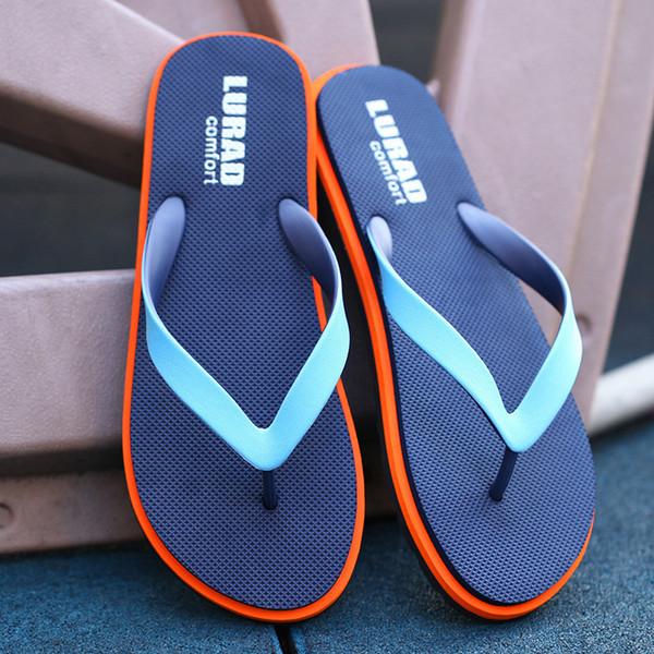 Zapatillas de verano de los hombres al aire libre de la moda Flip Flop zapatos de los hombres antideslizante Beach Strip Flat Bath Mannen Pantoffel Zapatos De Hombre