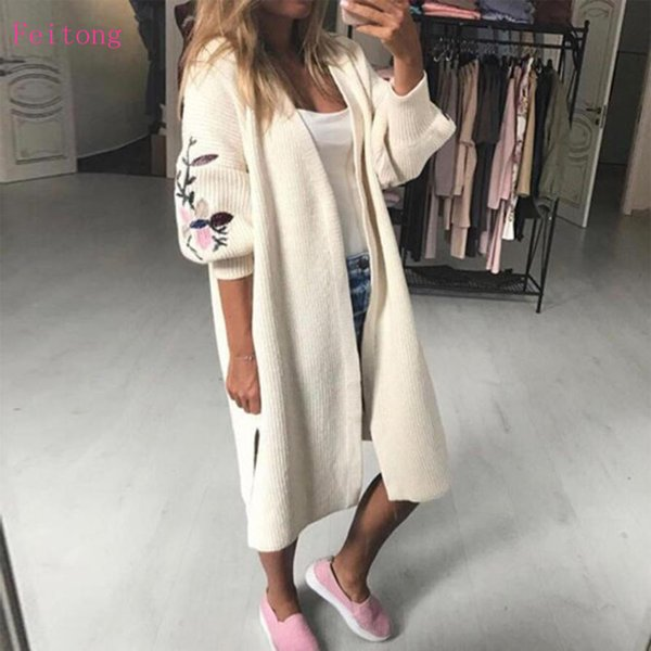 dc8886007be546 2017 Autumn Winter Fashion Women Cardigan Lady Long Sleeve Loose Pocket Long  Knitted Sweater Female Cardigan