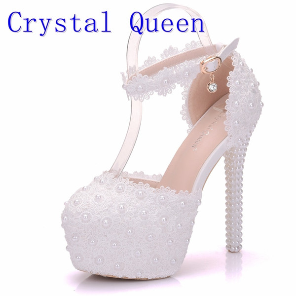 2019 Crystal Queen White Lace Flower Bridal Shoes 14CM High Heel Round Toe Wedding Pumps Ankle Straps Women Sandals Bridesmaid Shoes Dress