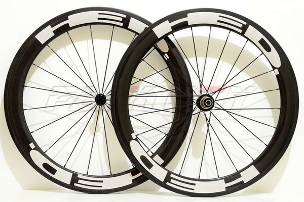 HED 700C 60mm depth 25mm width road bike Full carbon wheels with Clincher/Tubular 3K glossy finishing with Powerway R13 hub free shipping