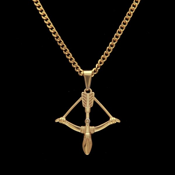 Hip hop Chain Super Hot Alloy Bow Arrow Crossbow Stainless Steel Pendant Man Women Necklace Jewelry Gold color Wholesale