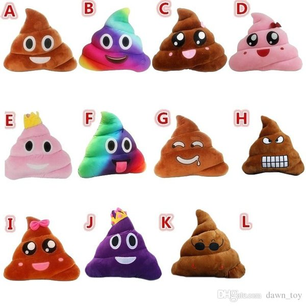 Emoji Emoticon Crown Princess Poop Cushion Pillow Toy Doll Stuffed Soft Plush QQ Expression Poo Shape Toys Home Office Decor for Women Girl