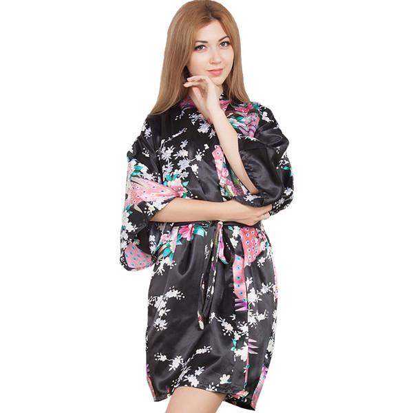 Seksi Gelin Düğün Mini Elbiseler Kadın Kimono Robe Ev Sabahlık Rahat Gecelikler Tavuskuşu Gecelik Rayon Pijama