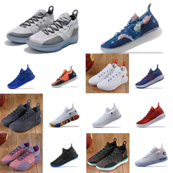 Nouveaux hommes pas chers KD 11 chaussures de basket fleurs florales roses cool gris noir or rouge blanc bleu Kevin Durant kd11 baskets bottes kds à vendre