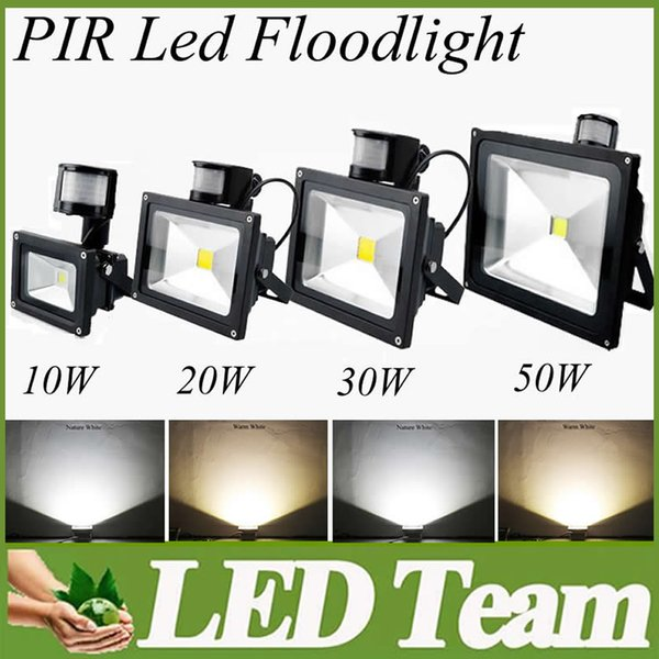 High Power Chip 10w 20w 30w 50w LED Floodlight Outdoor PIR Motion Sensor Led Flood Light IP65 Waterproof AC85V-265V Super Bright