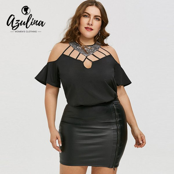 AZULINA Plus Size Cutout Bell Sleeve Sequined Blouse Women Blouses Shirts 2018 Summer Casual Crew Neck Short Sleeves Tops Blusas