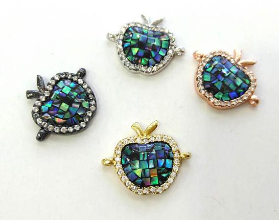 best selling 6pcs Apple CZ Micro Pave Round Disc Evil Eye Connector With Abalone Pearl Shell,Cubic Zirconia CZ Spacer Connetor 16mm