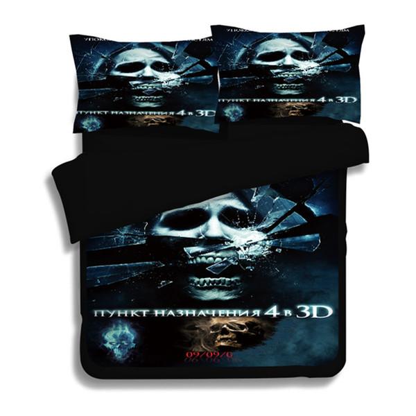 Ensemble de literie crâne 3D Twin Queen Full King 3D housse de couette imprimée Black Bedclothes 3pcs Textiles Maison de mode pour les garçons / cadeau homme