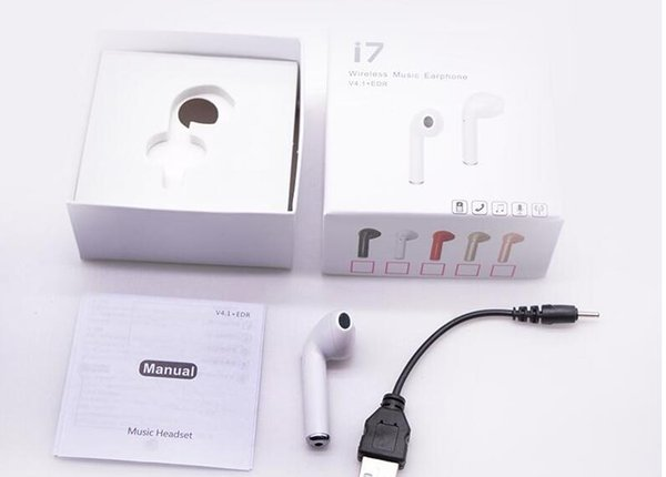 porcket mini style earphone in ear I7 single piece in one package from China factory supply