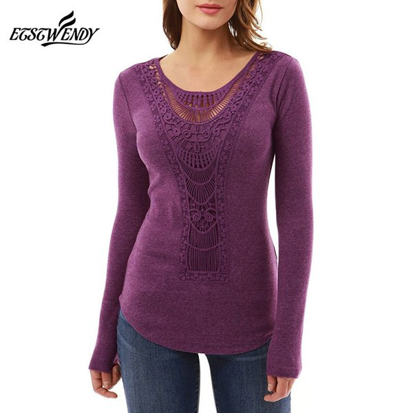 Autumn Winter Casual Women T-shirts O-neck Hollow Out Long Sleeve Patchwork Slim Shirt Black Green Purple Pullover Fashion Tops