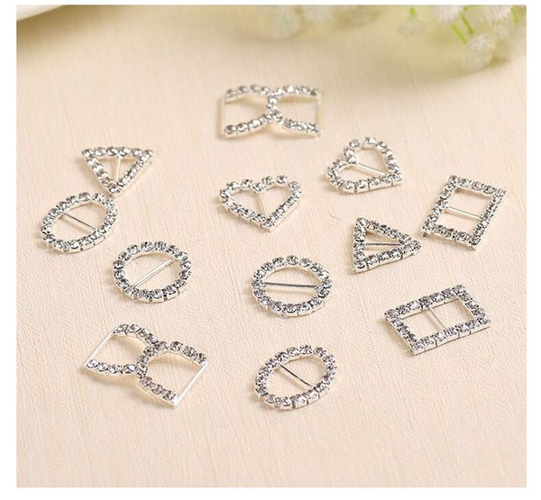 100pcs/lot 20mm White Rhinestone Crystal Buckles Brooches Bar Invitation Ribbon Chair Covers Slider Sashes Bows Buckles
