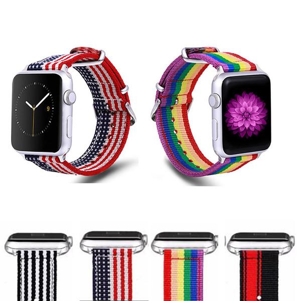 Correa de la bandera con la banda de rayas de la onda del arco iris para Apple Watch Band Bandas de reloj de nylon para iWatch Seies 1/2/3/4 44 40 42 Bandas de 38 mm