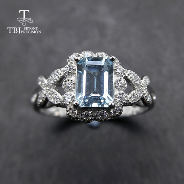 TBJ,Sweet shiny ring with natural good color Brazil aquamarine gemstone ring in 925 sterling silver for women as a birthday gift