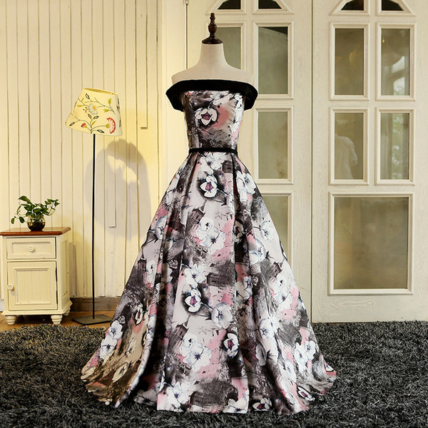 2018 new gorgeous style black prom dress off the shoulder evening party gowns floral print pattern Vestido de Festa long formal dress