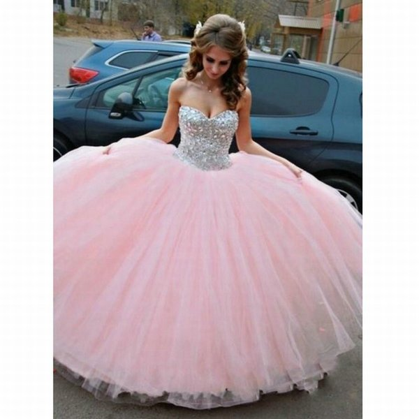 Sweetheart Crystal Pageant Evening Dresses Women's Pink Tulle Bridal Gown Special Occasion Prom Bridesmaid Party Dress 17LF455