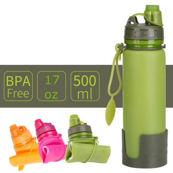 Bouilloire pliable en silicone avec bouteille et bouteille de sécurité 17oz 500ml FDA de qualité alimentaire voyage tasse portable livraison gratuite FEDEX