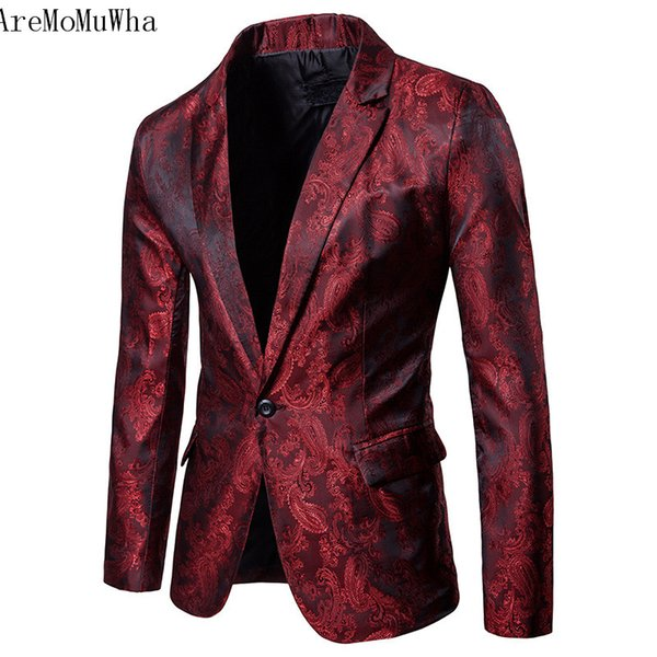 AreMoMuWha Autumn and winter new style Men's casual suit Nightclub show small suit Fashion casual flower Dark print QX103