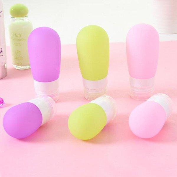 Flacone da 38 ml in silicone per lozione Shampoo Trucco rotondo vuoto Bottiglie riutilizzabili Bottiglie di stoccaggio per imballaggio in viaggio ZA6023