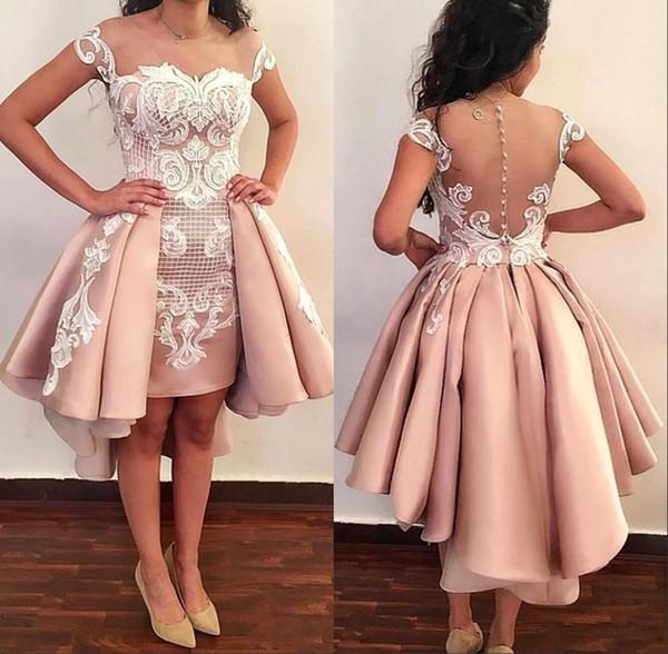 Robes de bal de bal de fin d'année pure dentelle appliques sur jupes formelle haut bas pure robe de soirée courte avec des boutons