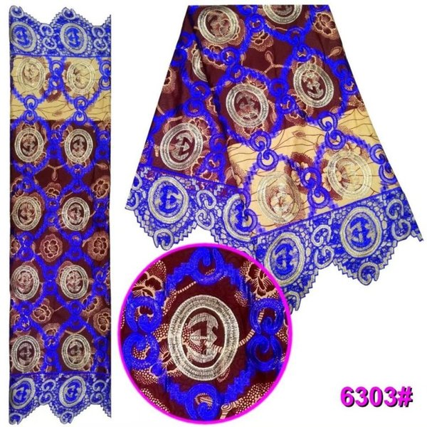 6Yards/pc Popular royal blue african water soluble lace embroidery and coffee background printed cotton fabric for dress LBL40-3