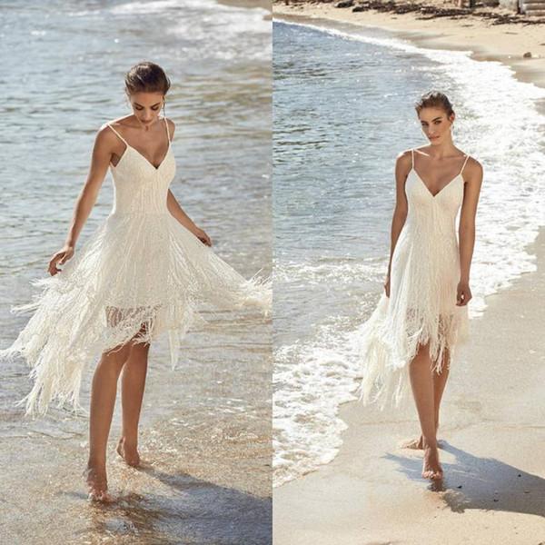 2018 vestidos de novia de la playa una línea de encaje de espaguetis borla lentejuelas con cuentas corto más el tamaño vestidos de novia vestidos de novia Boho vestido de novia