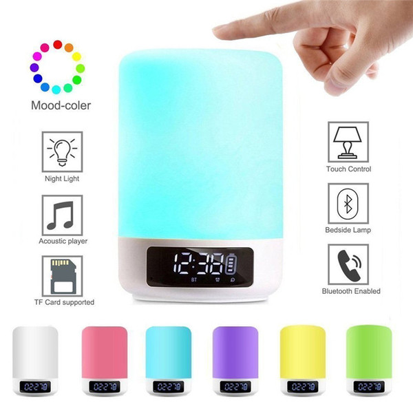 Wireless Bluetooth Speaker Colorful LED Portable Smart Touch Control Bedside Muisc Player Night Light Outdoor Audio Lamp Alarm Clock