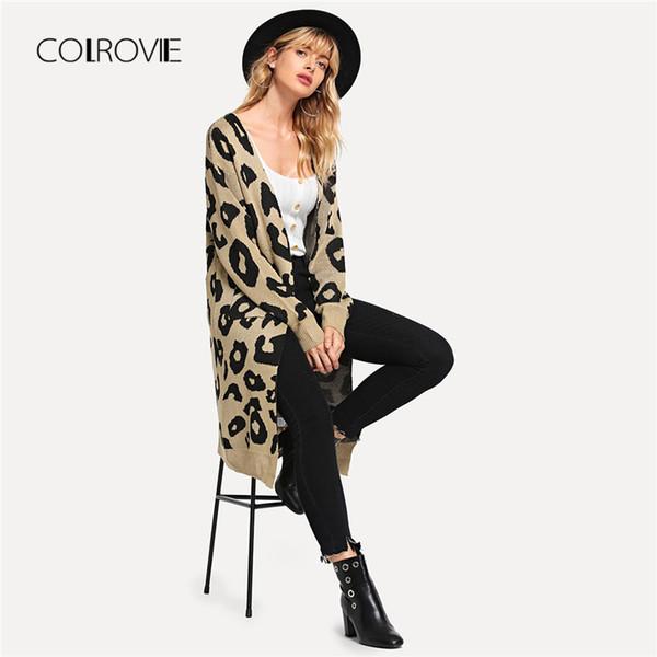 Оптовая Leopard открытый фронт элегантный кардиган Длинный женский свитер дамы осень 2018 офис девушки зимние свитера Женская одежда