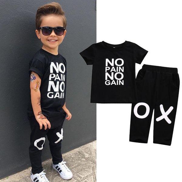Summer Suit Kids Baby Boy Outfits Short Sleeve No pain no gain Letters Printed T-shirt Top Pants Black Children Clothing 2 pcs Sets