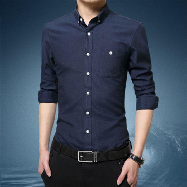 2018 new autumn solid color long-sleeved men's shirt men's slim white HXF06