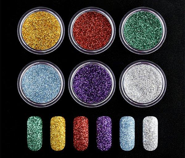 2018 vente chaude Nail Art brillant boîte couleur mélangée 13 conception, poudre de verre, mode chaude, clou, poudre clignotante, décoration des ongles