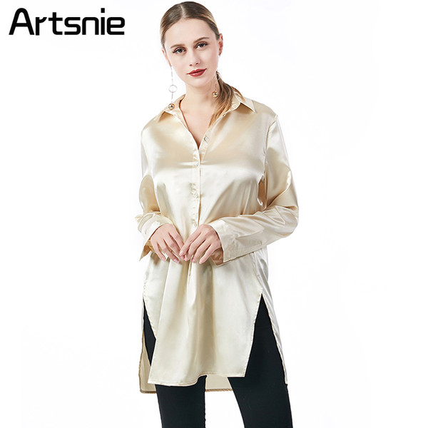 Artsnie Gold Satin Casual Long Women Blouse Spring 2018 High Waist Split Shirts Ladies Office Work Tops Blusas Feminina Chemise