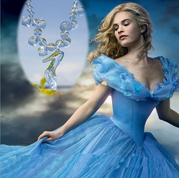 Princess Dress Up Fairy Tale Crystal shoes Necklace Blue Color Design Kid Fashion Girls Bead Necklace Jewelry Gift For Children
