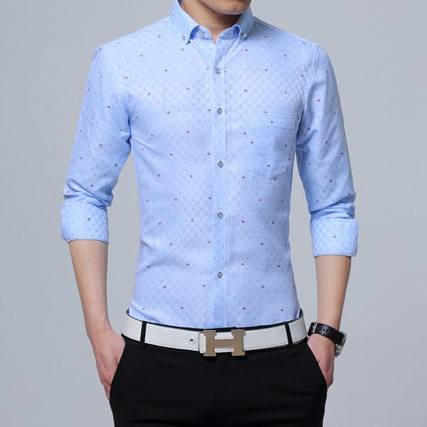 Plus Size 5xl Men Shirt Hight Quality Plaid Printed Business Long-sleeve Shirt Men White Blue Pink Mens Shirts Casual Slim Fit
