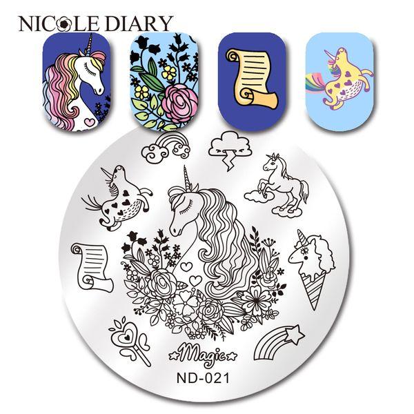 NICOLE DIARY Runde Stamping Schablone Unicorn Horse Cloud Nail Art Bildplatte ND-021