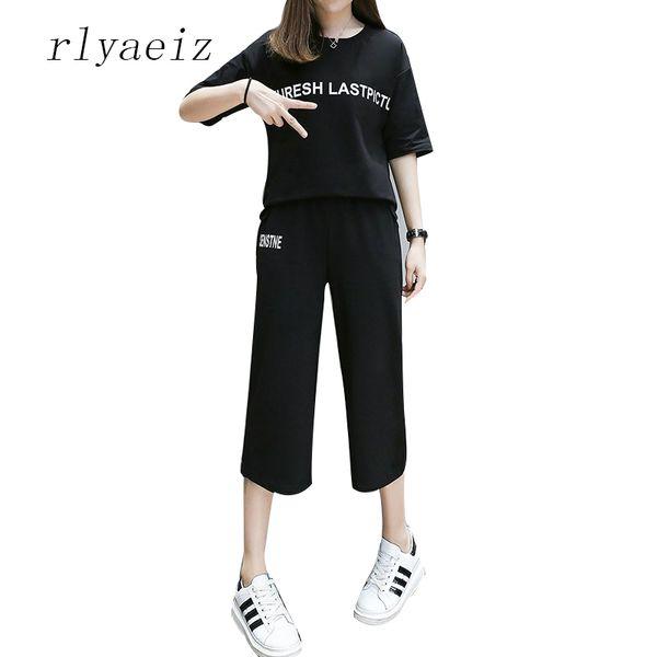 Rlyaeiz Korean Fashion 2 Piece Set Women Letter Printed T shirts + Calf-length Pants 2018 Summer New Loose Women Sweat Suit