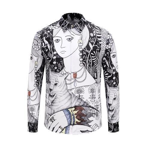 2018 New Luxury Mens Fashion Casual Long Sleeve Shirt 90117 Vintage Designer 3D Print Slim Fit Cotton Lapel Dress Shirts M-XXXL