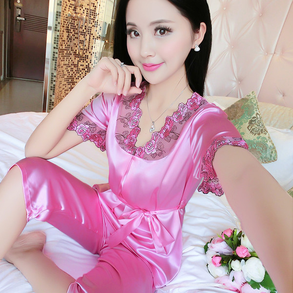Litmon Pigiama Set Sleepwear Pantaloncini estivi Donna Solid Floral scollo a V con cintura Pigiama in seta di alta qualità Seepwear Donna Sexy