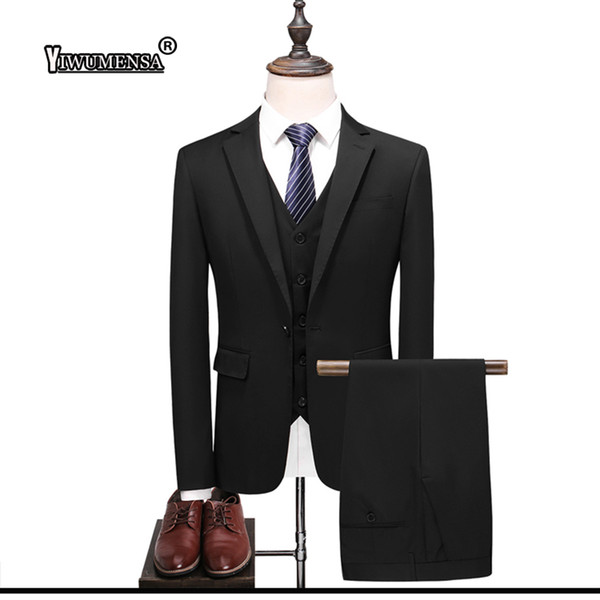 yiwumensa Royal Blue/Black 3 Pieces Mens Suits 2018 1 Buttons Wedding Suits for Men Groom Tuxedos Business Formal Groom Suit
