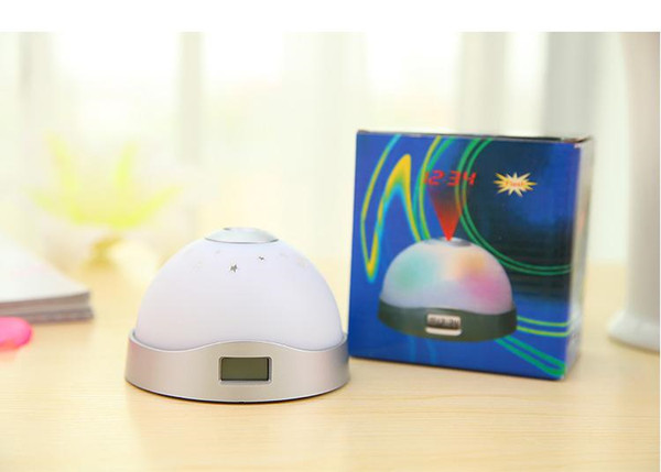 Creative fantasy moon and stars personalized mini projector LED electronic clock lazy snooze alarm clock colored lights