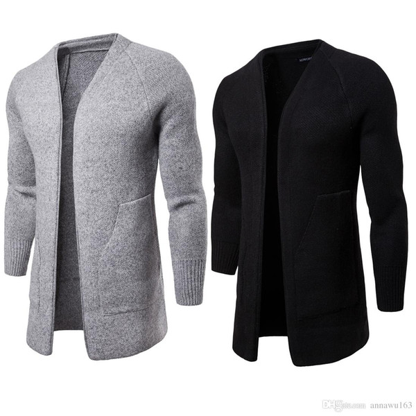 New Designer Cardigan Sweater Men' V-neck Long Sweater With Long Sleeve High Quality Cotton Blend Knitted Winter Mens Sweater For Sales