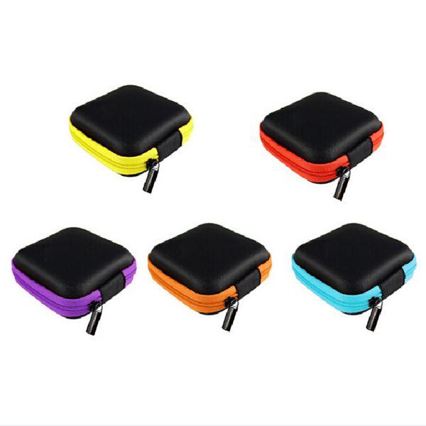 7.5*7.5*2.5cm PU Square Hard Case Earphone Pouch Storage Bag Travel Gadgets Closet Organizer Kitchen Accessories Home Decor Craft Supplies