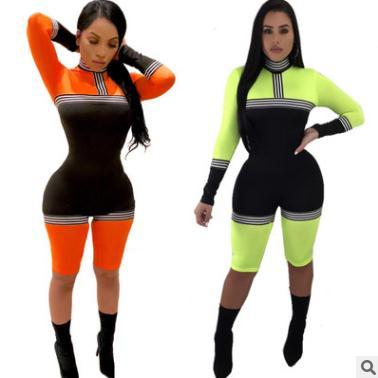 Women jumpsuits 809 S-XL Sexy contrast solid color stitching jumpsuit Slim fit capris fashion personality design shorts